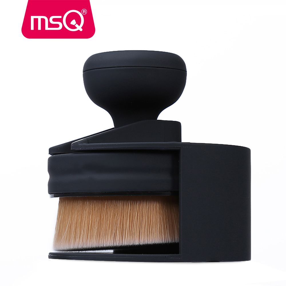 MSQ New O! Cirkel make-up kwasten 35 hoek stichting losse poeder cirkel make-up borstels Base ovale Maquiagem gereedschappen met houder