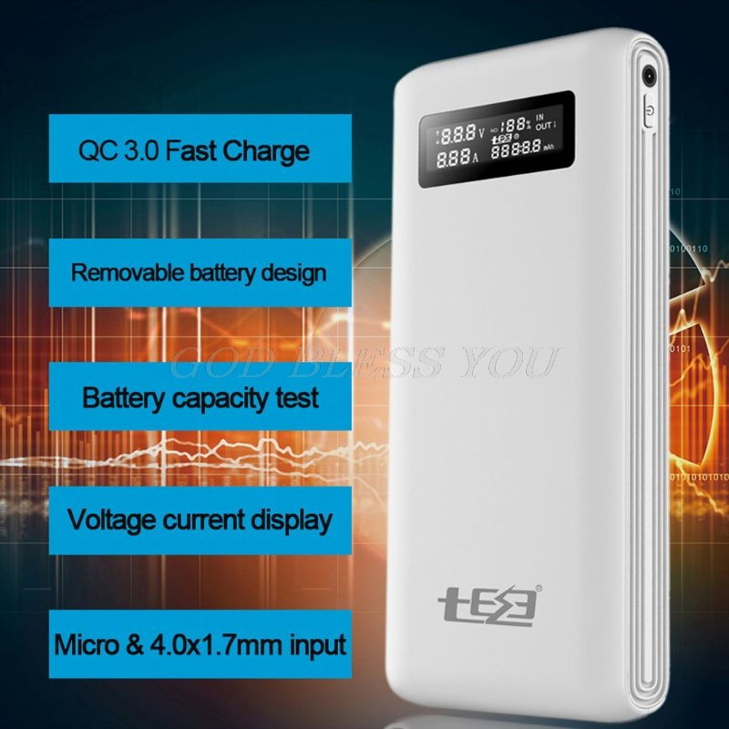 Dual USB QC3.0 Output 6x 18650 Batteries DIY Power Bank Box Holder Case Fast Charger For Mobile Phone Tablet PC No Battery