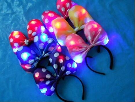 Free Shipping 2pcslot 3d Led Light Satin Fabric Headband Christmas