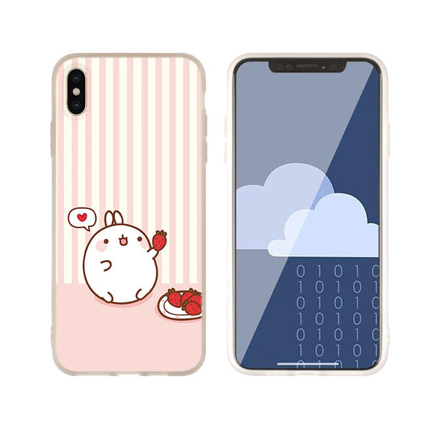 Molang rabbits Cutest Kawaii Silicone Soft Cover Case FOR iPhone 11 12 Pro X XS Max XR For iphone 8 7 6 Plus 5 5s SE 2020