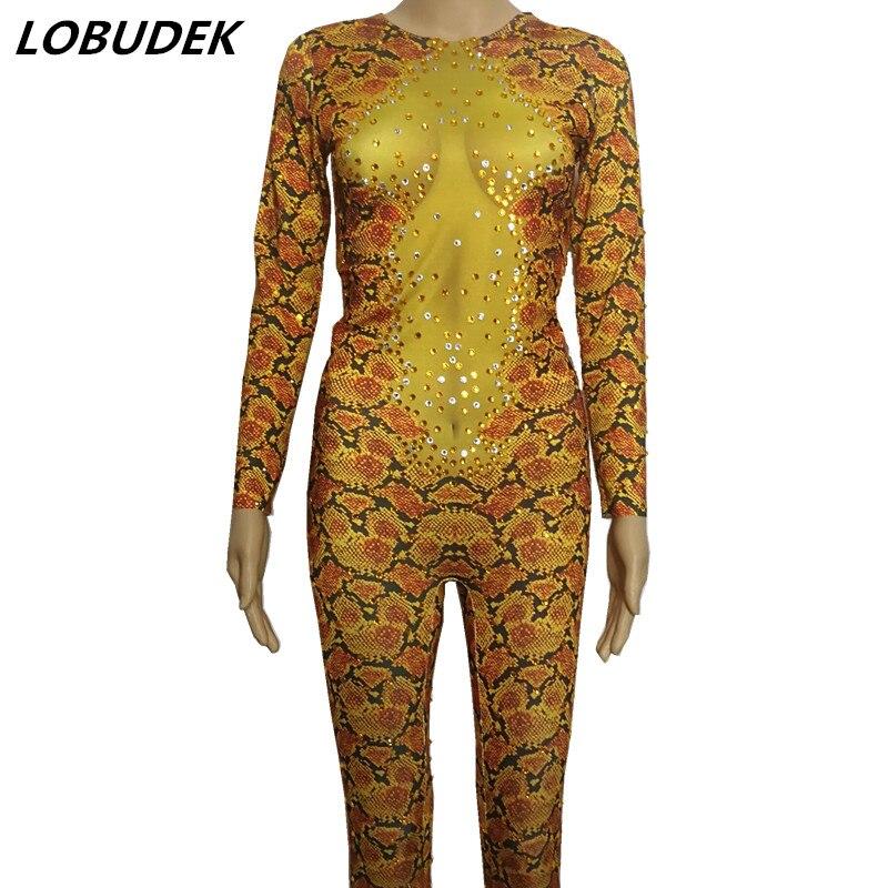 Super flash Golden yellow rhinestones Diamond Jumpsuits Leotard Elastic sexy Rompers Nightclub Bar dancer DJ pole dance costumes