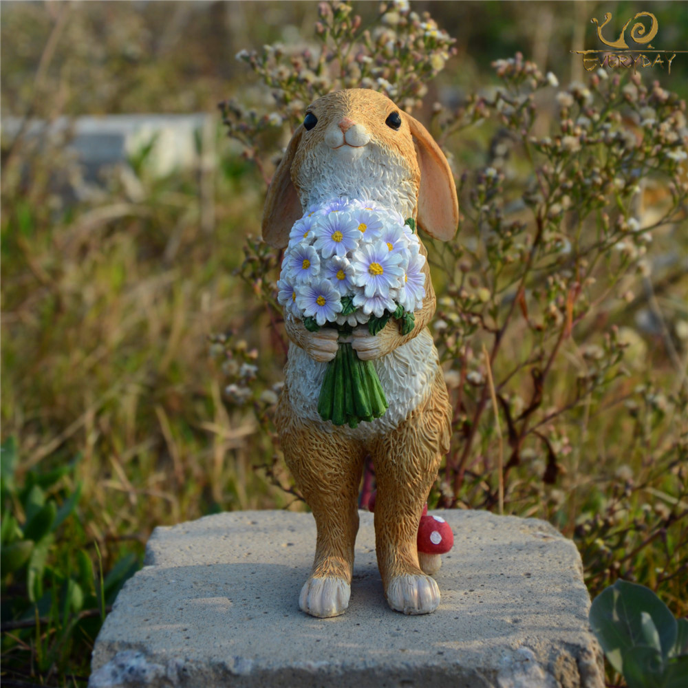 Everyday Collection Cute Easter Rabbit Desk Decoration Fairy Garden Bunny Animal Figurine Home Decor Valentine's Day Gift