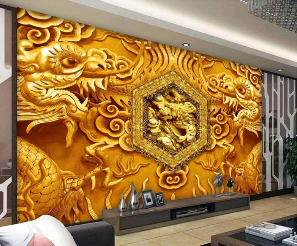 Online get cheap chinese design wallpaper for Chinese mural wallpaper