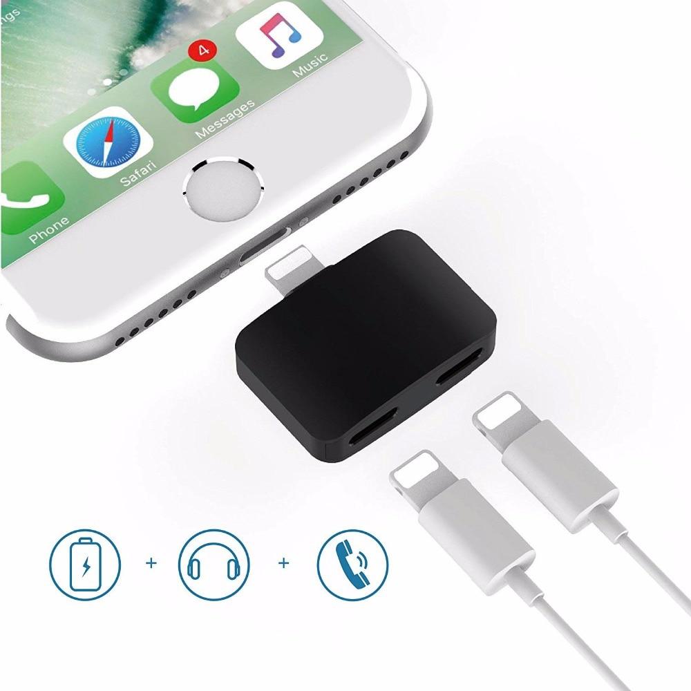 imágenes para 2en1 Cargador Auricular Adaptador Soporte IOS 10.3 Charla Llamada Música de Iluminación Dual de Carga Para el iphone 7 Plus Airpods