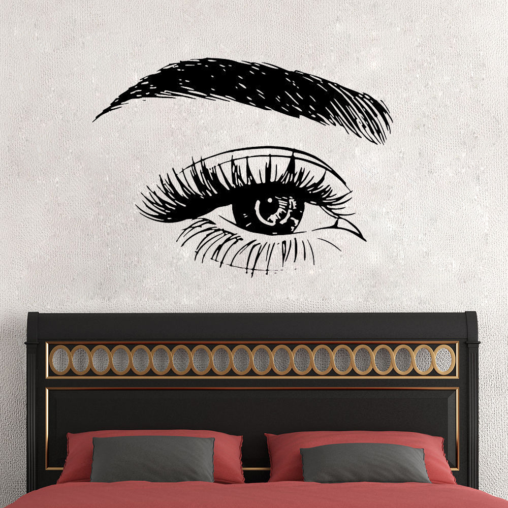 f590d2be160 Eyelashes And Eyebrows Wall Sticker Vinyl Long Lashes Wall Decal ...