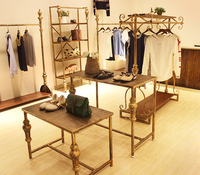 Clothing Store Display Rack High And Low Tables Floor To Ceiling Display Cabinets Iron Art Vintage