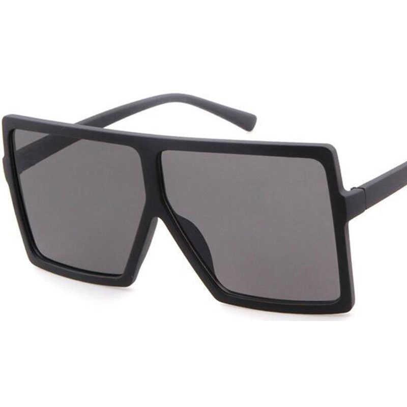 แว่นตากันแดดขนาดใหญ่ผู้หญิงแฟชั่น 2019 ใหม่ยี่ห้อกรอบรูป Big Square ด้านบนแว่นตากันแดด VINTAGE VINTAGE VINTAGE Full Black แว่นตากันแดด
