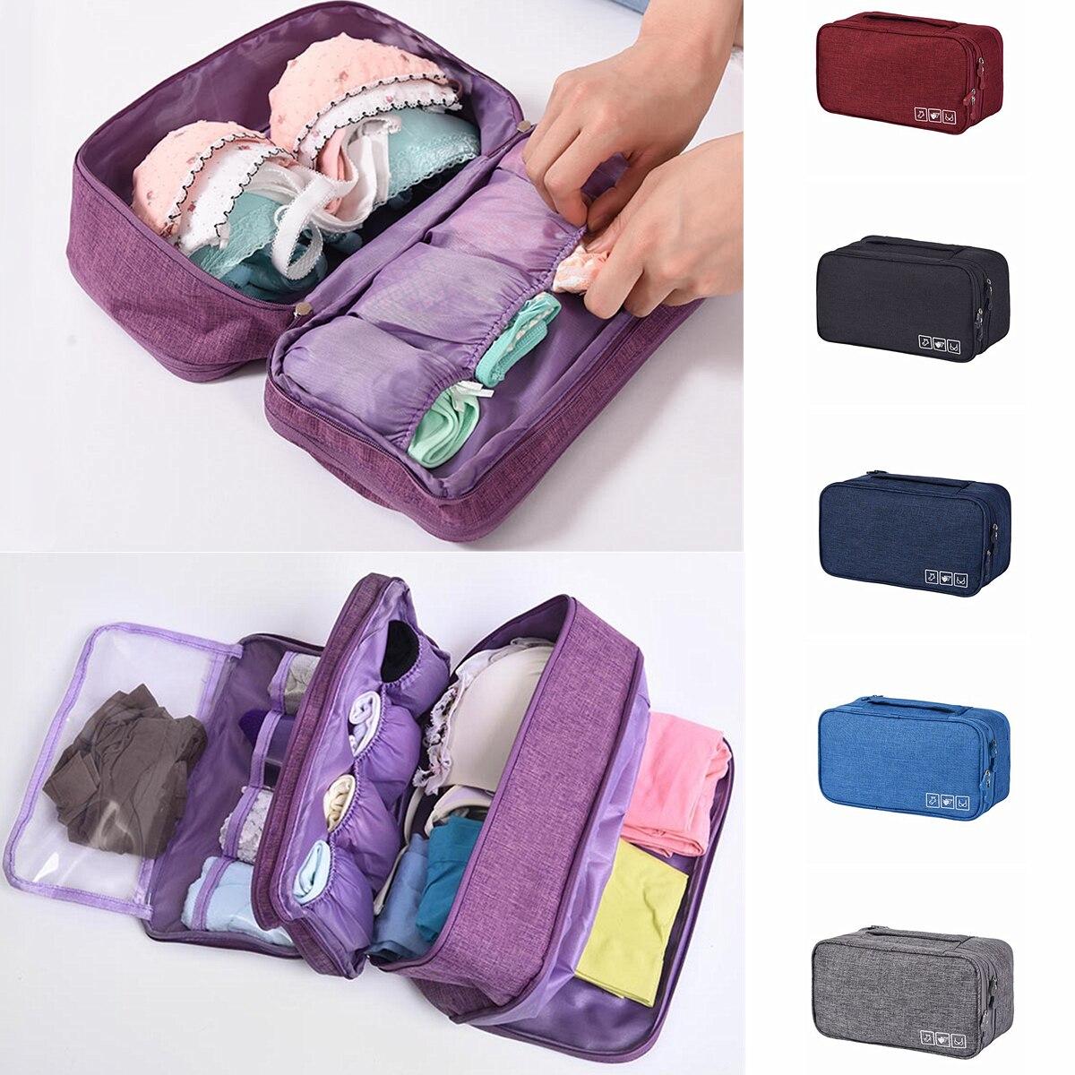 Cubos de Embalagem Underwear Bra Organizador Mala de Bagagem de Viagem Saco de Viagem À Prova D' Água para As Mulheres Caso Bolsa Space Saver Pacote