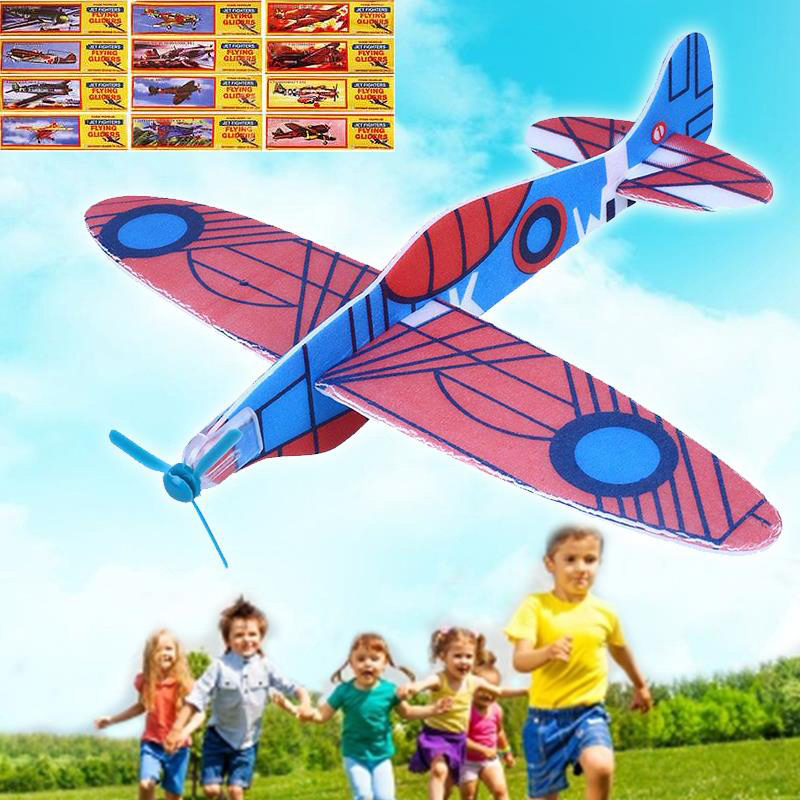 12Pcs New DIY Hand Throw Glider Aircraft Model Child Outdoor Toys Foam