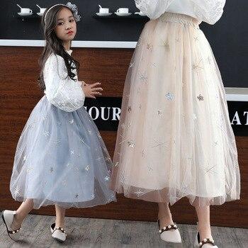 b7eb9c793 Faldas para niñas Otoño Invierno ropa para niños verano niña malla Falda  larga vestido de fiesta ropa para niñas niños madre tutú faldas