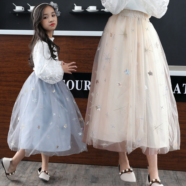 c3b2c9bbbee378 Girls Skirts Autumn Winter Kids Clothing Summer Girl Mesh Long Skirt Ball  Gown Baby Girl Clothes Children Mother Tutu Skirts