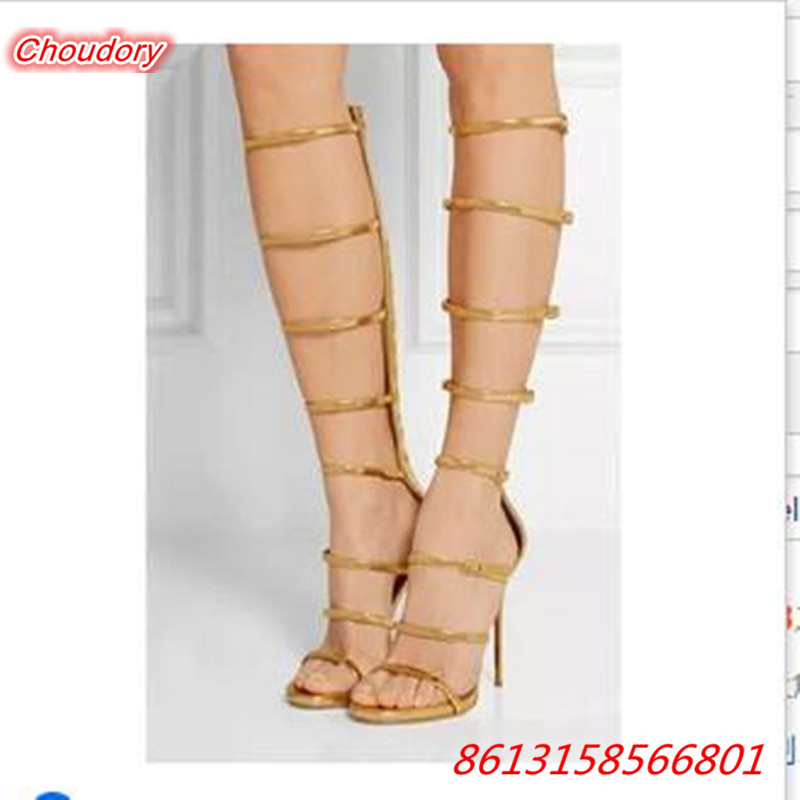 Fashion Sexy Open Toe Knee High Gladiator font b Women b font Sandal font b Shoes