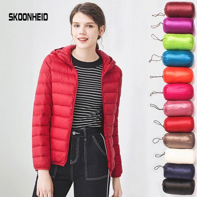 Xuống áo khoác phụ nữ đội mũ trùm đầu 95% vịt xuống áo Siêu Ánh Sáng ấm kích thước lớn Nữ Rắn Xách Tay đứng cổ áo xuống áo khoác mùa đông