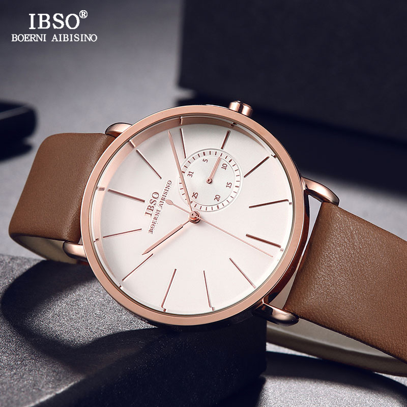 IBSO Mens Watches Top Brand Luxury Genuine Leather Strap Quartz Watch Men 2019 Fashion Wristwatch Male Clock Relogio MasculinoIBSO Mens Watches Top Brand Luxury Genuine Leather Strap Quartz Watch Men 2019 Fashion Wristwatch Male Clock Relogio Masculino