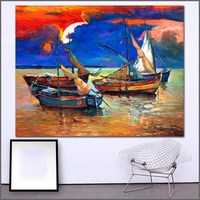 Large Size Printing Oil Painting Sailing Boat Under The Sunset Art Canvas Prints Pictures For Living