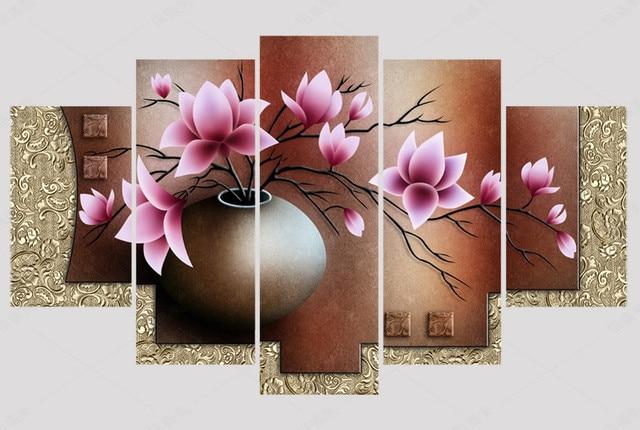 5 unidades lona pintura al óleo florero imagen HD imprimir cuadros ...