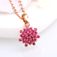 Robira Free Shipping Beautyful Starry Ruby Pendant 18K Gold Elegant Gem Pendant Fine Jewelry Birthstone