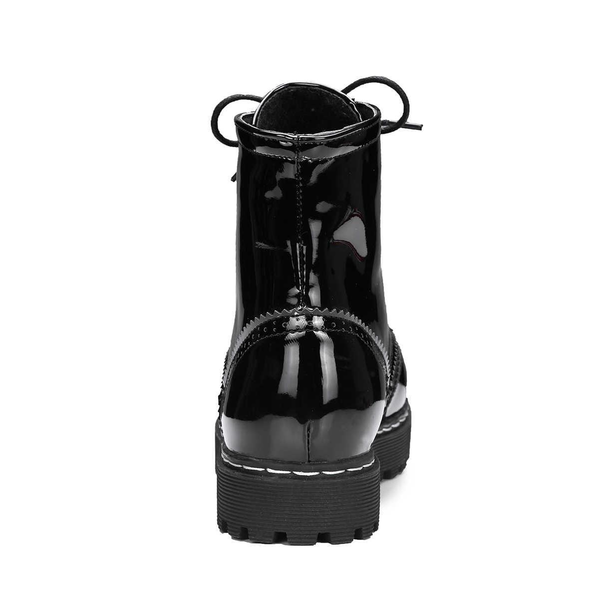 Kadın Çizmeler Düz Topuk yarım çizmeler Lace Up Moda Siyah Patent deri ayakkabı Sonbahar Kış Bayanlar Ayakkabı Artı Boyutu 2018 Yeni