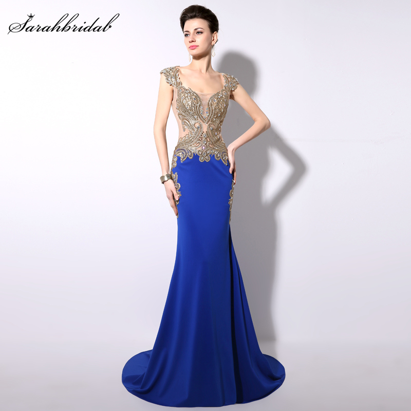 Elegant Royal Blue Sheer Embroidery Crystal Formal   Evening     Dresses   Trumpet Floor Length Party Gowns Robe De Soiree YD003