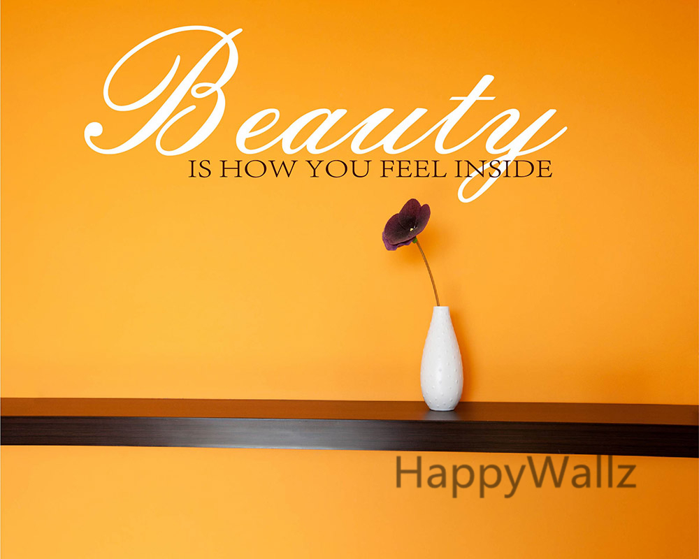 Beauty Is How You Feel Inside Motivational Quote Wall Stickers DIY ...