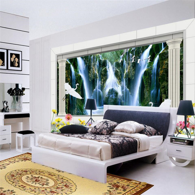living background grass modern bedroom crane landscape paper falls painting mural sofa decor wall zoom 3d waterfall lake custom mouse