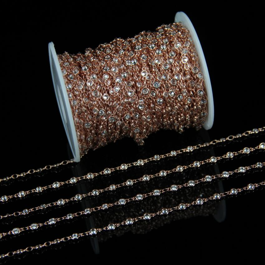 5 meter Clear White Cubic Zircon Rosary Chains Jewelry,Faceted Round CZ Pave Wire Wrapped Plated Rose Gold Links Chains Necklace