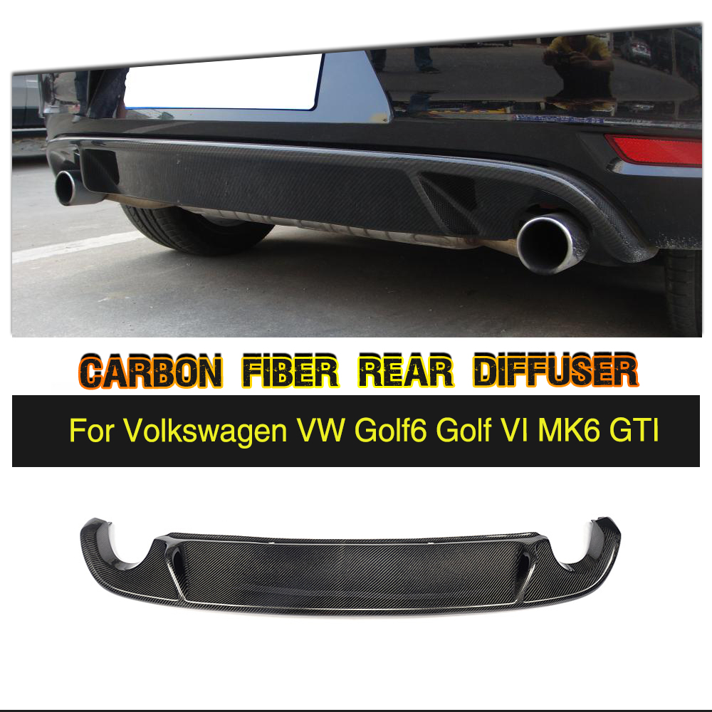 Углеродного волокна задний диффузор для губ бампера для VW Golf VI MK6 GTI 2010 2013