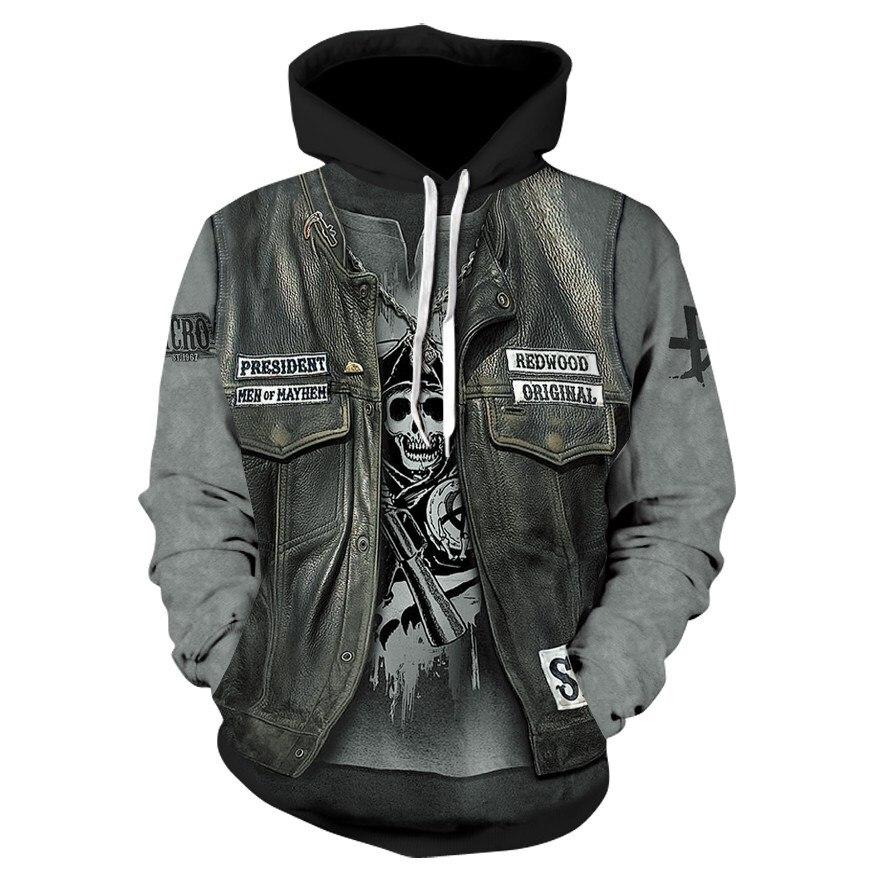 New Gothic Skull Hoodie Men's Hip Hop Sweatshirt Men Women's Thin 3D Sweatshirt Print Fake Denim Jacket Skull Hoodie Pullover