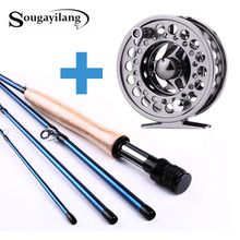 Sougayilang 2.7m  Fly Fishing Rod with Reel Combos 4 Sections Carbon Fiber Material Carp Fly Rod Bamboo Kit Fly Fishing Set