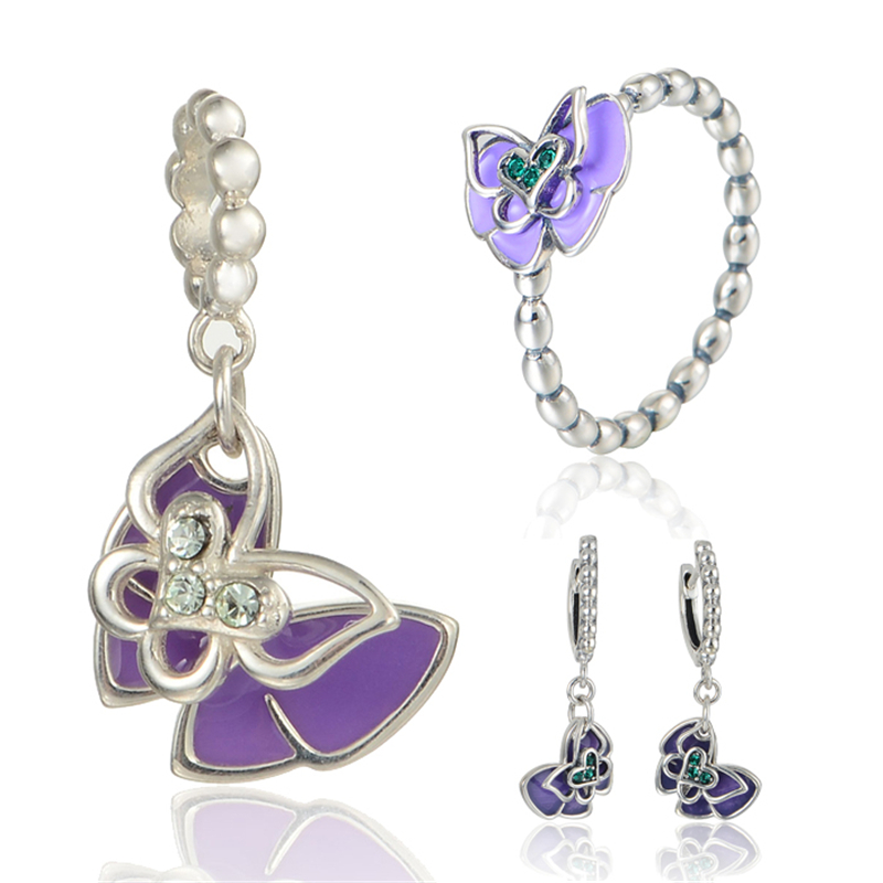 GW Fashion Jewelry Purple Enamel&Crystal Butterfly Jewelry Sets Sterling Silver for Women Earrings Pendant and Ring SET-013H15 viennois new blue crystal fashion rhinestone pendant earrings ring bracelet and long necklace sets for women jewelry sets