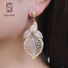 Siscathy 2019 Trendy AAA Cubic Zirconia Big Statement  Earrings Luxury Hollow Long Dangle Drop Earrings For Women Wedding Jewery