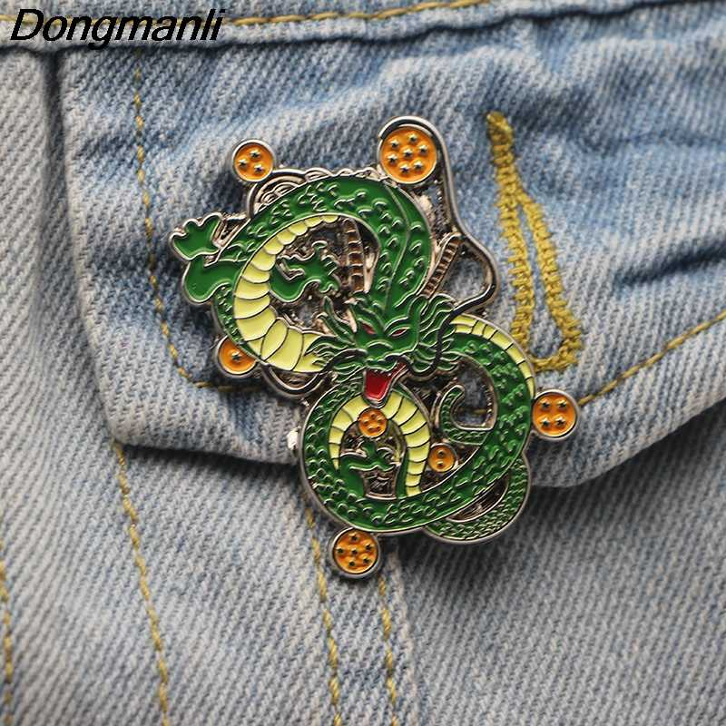 L2401 Anime Dragon Ball z Shenron del Metallo Dello Smalto Spille e Spille Zaino/Borse Distintivo Denim Del Collare Spilla Gioielli Regali 1pcs