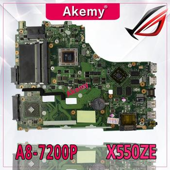Akemy For ASUS X550ZE K555Z A555Z X555Z X750/X550 Laptop motherboard A8-7200 CPU Mainboard with graphic card test good