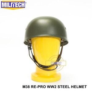 Image 2 - MILITECH OD WW2 German M38 Steel Helmet WW II M38 Green German Paratroop Helmet Genuine Leather World War 2 German M38 Helmet