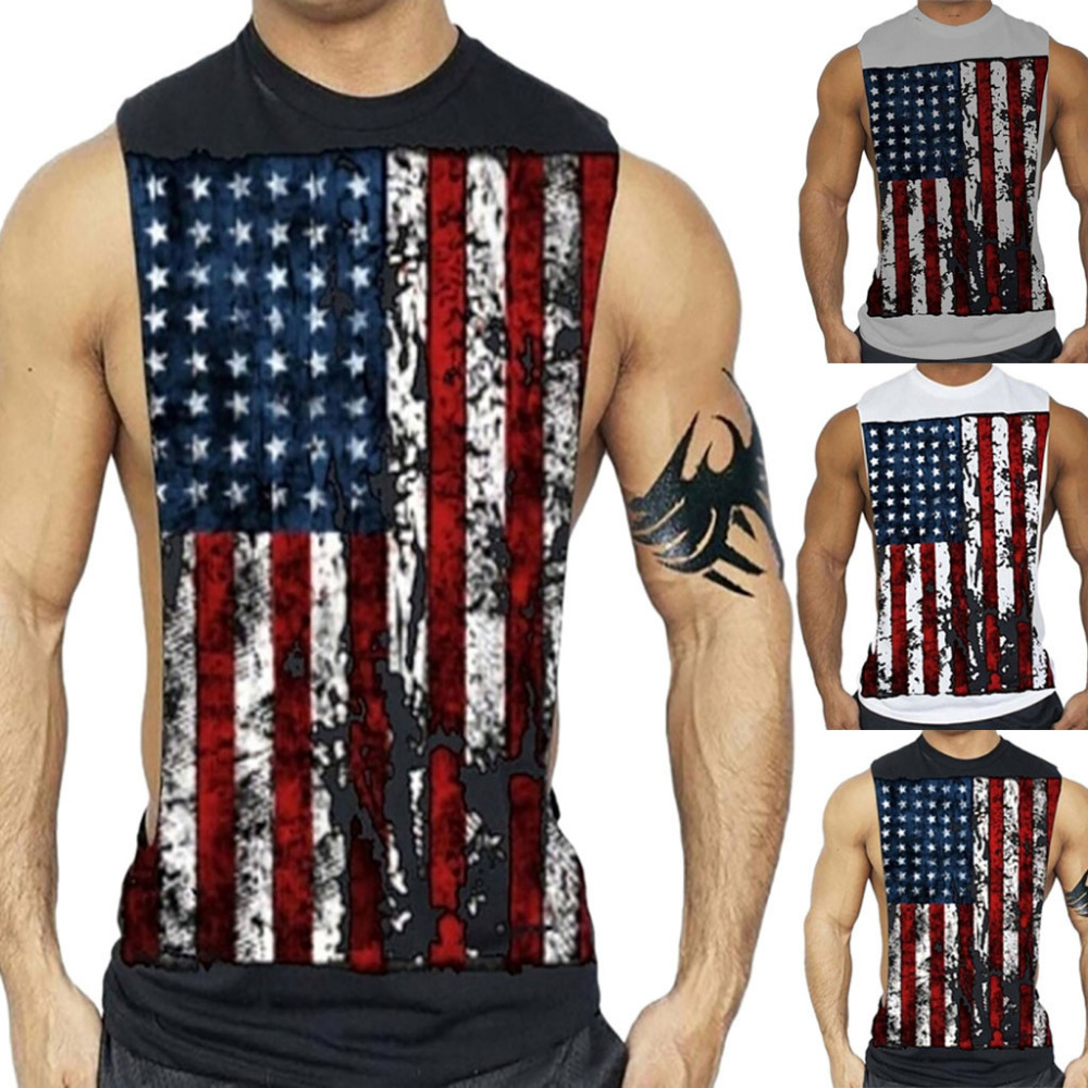 New fashion cotton sleeveless shirts   tank     top   men Fitness shirt mens Men Printed Sports Vest Pure Cotton Pure Large Open-Forked
