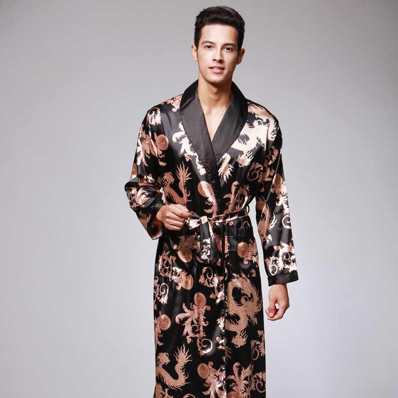987ecc52ac0f Мужские дракон халат платья летние мини юката пижамы белье Ночные сорочки  мужчины халат-кимоно Hombres