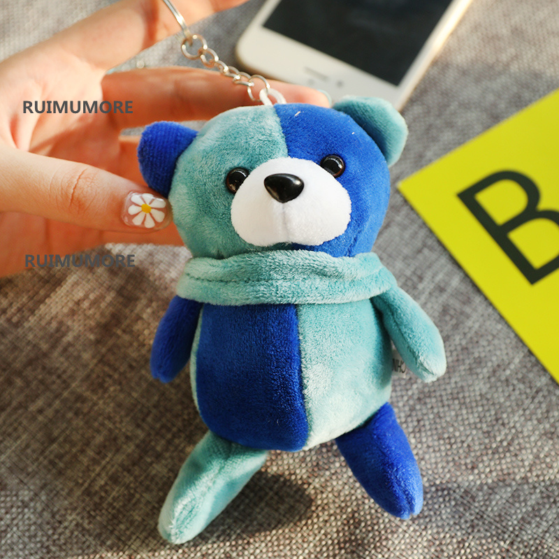 12cm approx. colorful bears Plush Stuffed doll Toy , Key chain gifts for baby toys