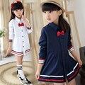 Niñas de 2 colores Blusa 100% Algodón bowknot School Girl Blusa Para Las Niñas Camisetas de Manga Larga Primavera y Otoño Camisa de La Manera Ropa de los cabritos
