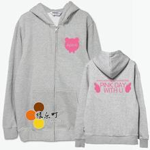 Kpop apink concert pink day with you Jung Eun Ji same zipper hoodie men women fashion sweatshirt jackts sportwear(China)