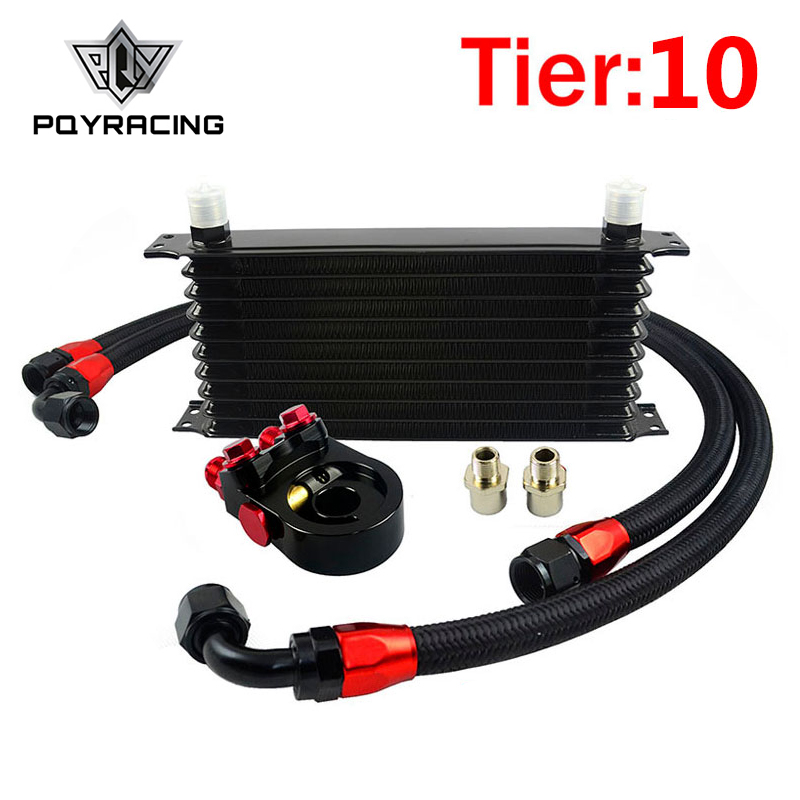 PQY - Universal 10 ROWS Trust type OIL COOLER KIT +AN10 Oil Sandwich Plate Adapter with Thermostat+2PCS NYLON BRAIDED HOSE топливоснабжение pqy an10 pqy6721
