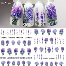 1 sheet Lavender Flower Water Decals Purple Blooming Flower Nail Transfer Decals Nail Art Water Seal Water Slide