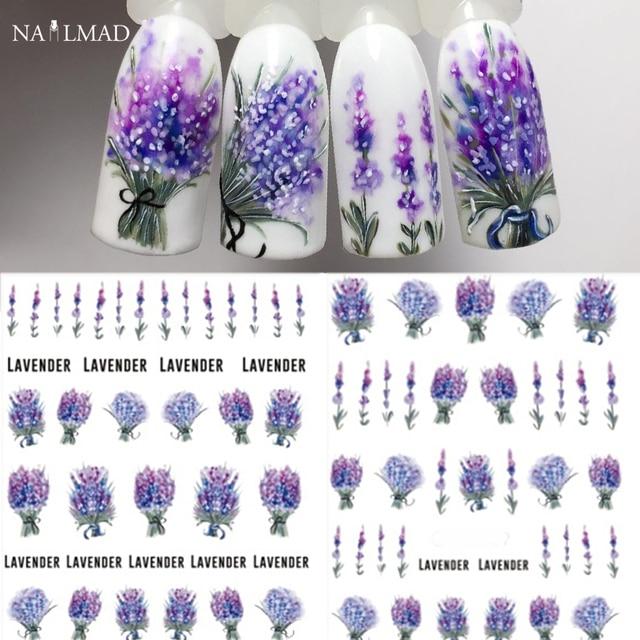1 sheet Lavender Flower Water Decals Purple Blooming Flower Nail Transfer Decals Nail Art Water Seal Water Slide