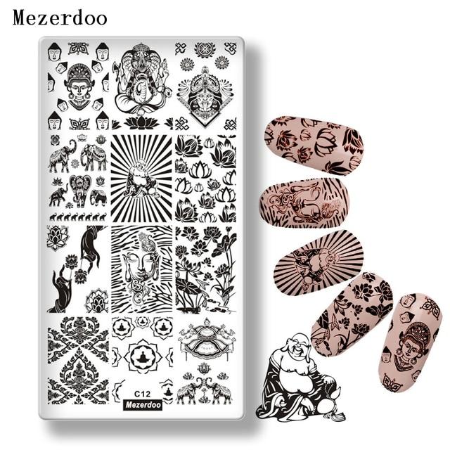 Mezerdoo Buddha Thema Edelstahl Nail Stamp Platten DIY Elefant Lotos ...