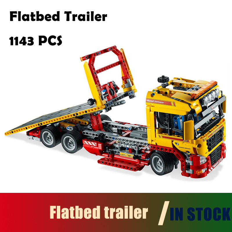 Flatbed trailer building blocks Figure bricks toys for children Compatible with Lego Technic 8190 model 20021 1143pcs compatible with lego technic creative lepin 24011 1344pcs 3 in 1 highway transport building blocks 6753 bricks toys for children