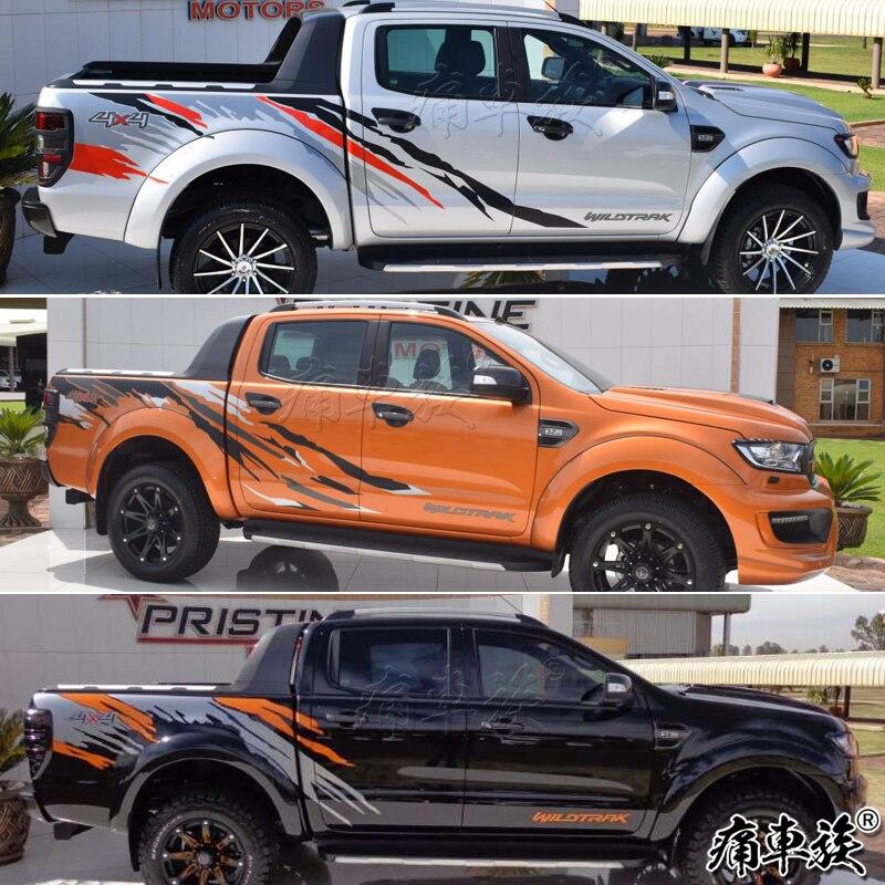 Pour Ford Ranger voiture autocollants tirer fleurs Rangers pick-up modifié voiture avant côtés Raptor F150 autocollants