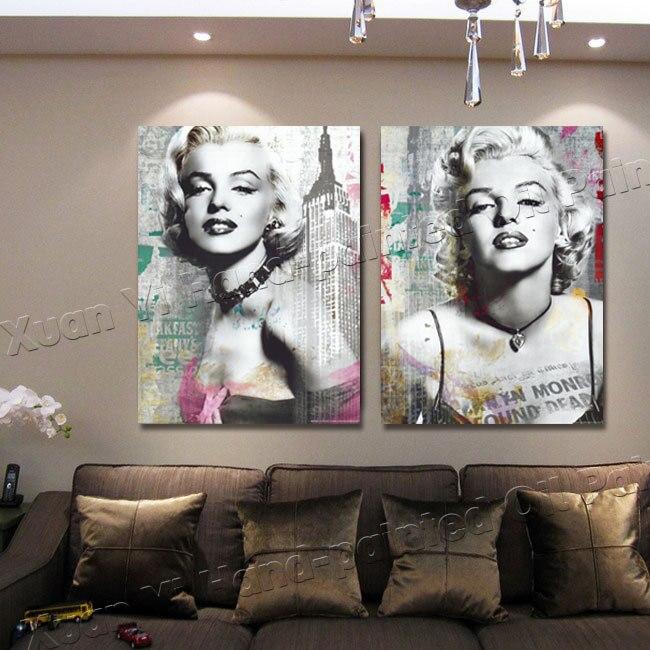 2 Painel Da Lona De Impressão Sexy Marilyn Monroe Preto E Branco Pintura A  óleo Arte Da Parede Pictures Para Sala De Estar Decoração De Casa MK3 (35)  Em ... Part 46