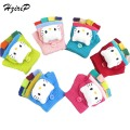 New Winter Children Cute Cartoon Hello Kitty Warm Gloves Half Finger Clamshell Soft Comfortable Mitts Kids Girl Boy Baby Gloves