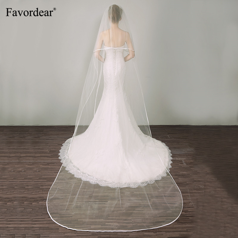 Favordear Elegant Cathedral Length Wedding Veil Simple Ribbon Edge 2 Tiers Bridal Veil With Blusher High Quality Comb In Stock