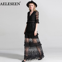 Vintage Black Sexy Dress 2018 Fashion High Quality Slim Flare Half Sleeve Ruffles Embroidery Party V