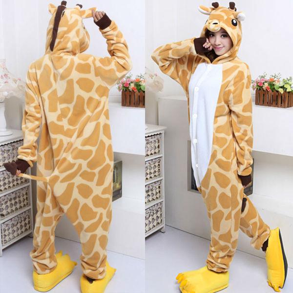 7f29de5b4 Fleece Adult hoodie Pyjamas Unisex Giraffe Onesie Animal Cosplay ...